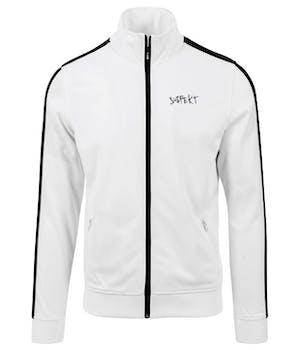 Hvid track jacket med sorte detaljer og et lille, sort suspekt logo