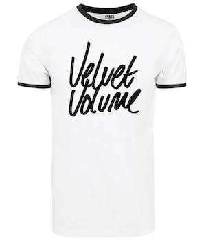Hvid t-shirt med sorte detaljer og sort Velvet volume logo på brystet