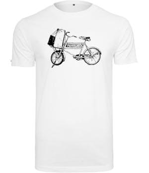 Folkeklubben hvid t-shirt med cykel med logo