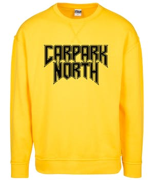 Gul Carpark North sweatshirt med sort bandtryk