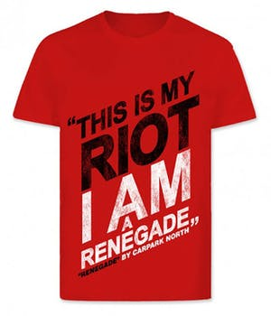 Rød t-shirt med This Is My Riot I am a Renegade påtrykt