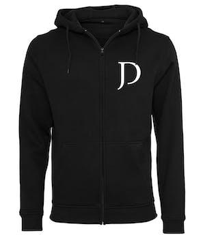 Sort hoodie med lynlås, JD trykt til venstre på brystet